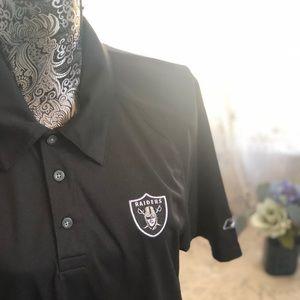 Raiders Reebok Black Pique Xtra-Lite Polo